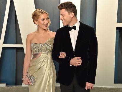 Scarlett Johansson y Colin Jost, durante una fiesta posterior a los Oscar, en 2020.