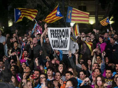 Concentración independentista el 1 de octubre de 2017 en Barcelona.
