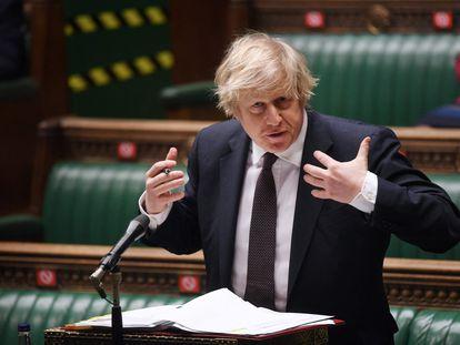 El primer ministro del Reino Unido, Boris Johnson, este miércoles en la Cámara de los Comunes, Londres (Reino Unido).