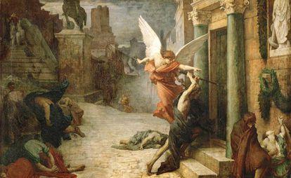 'La peste en Roma'. grabado de Levasseur de una obra de Jules-Élie Delaunay.
