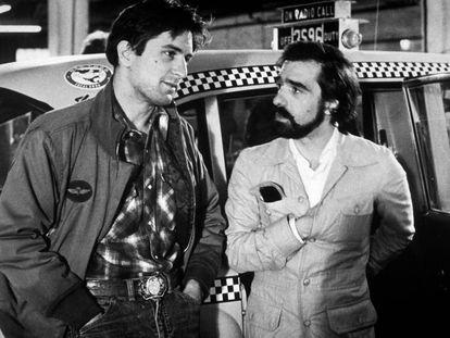 Robert de Niro y Martin Scorsese en 1976, durante el rodaje de 'Taxo Driver'.