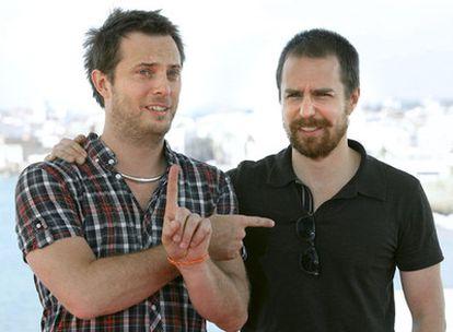 El director de <i>Moon,</i> Duncan Jones (izquierda), y su actor protagonista, Sam Rockwell, en Sitges