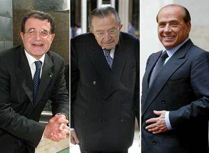 Desde la izquierda: Romano Prodi, presidente del Gobierno, 67 años; Giulio Andreotti, senador vitalicio, 88, y Silvio Berlusconi, líder de la oposición, 70.  / TEJEDERAS