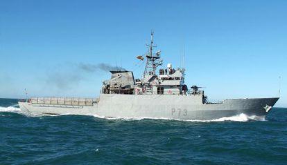 El patrullero de la Armada española 'Vigía', que se vio envuelto en un incidente en Gibraltar.