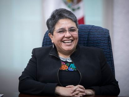 Raquel Buenrostro, jefa del Servicio de Administración Tributaria (SAT), ofrece una entrevista para EL PAÍS, en las oficinas de la Secretaría de Hacienda y Crédito Público, de la Ciudad de México, el 30 de Septiembre de 2020.