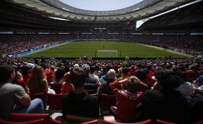 Imagen del Wanda en el Atlético-Barça ante 60.739 espectadores.