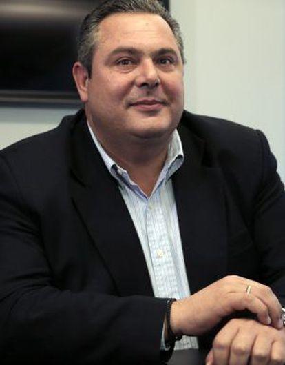Panos Kamenos, durante su reunión con Alexis Tsipras.