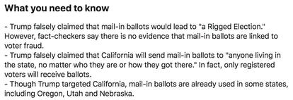 Advertencia de Twitter sobre los tuits de Donald Trump acerca del voto por correo.