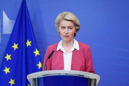 La presidenta de la Comisión Europea, Ursula von der Leyen, este martes en Bruselas.