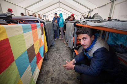 Campo de refugiados de Idomeni, cerca de la frontera greco-macedonia.
