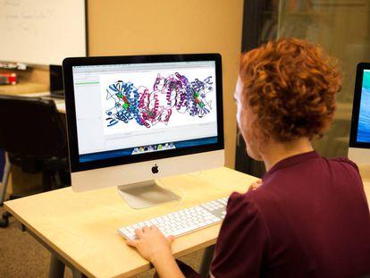 Recreación del análisis informático de la estructura de una proteína.