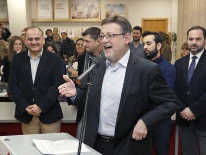 El secretario general del PSPV, Ximo Puig, durante la inauguración de la oficina del candidato.