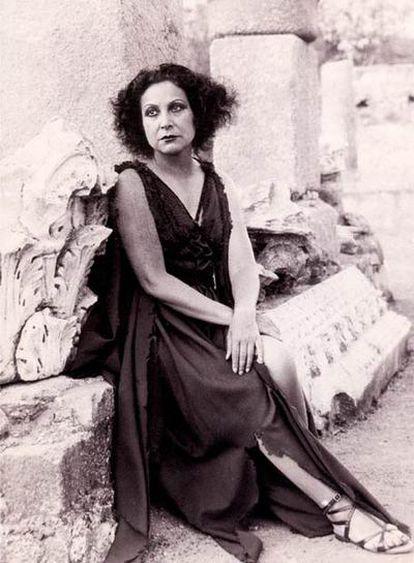 La actriz Margarita Xirgu, durante la representación de <i>Electra</i> en Mérida en 1934.