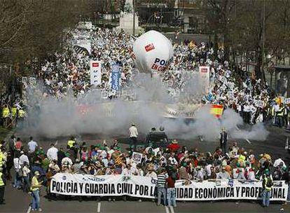 Cabecera de la manifestación de Policías Nacionales en Madrid