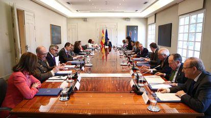 El presidente del Gobierno, Pedro Sánchez, preside en La Moncloa la reunión del Consejo de Seguridad Nacional.