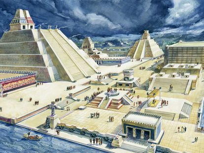 Representación del antiguo Templo Mayor en Ciudad de México, en una ilustración de 1900.