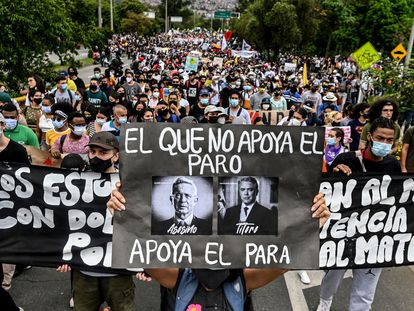 Una protesta contra el Gobierno de Iván Duque, en Medellín el pasado 28 de abril.