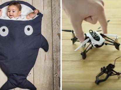 A la izquierda, un saco de dormir de invierno para bebés con forma de tiburón y, a la derecha, un mini dron Parrot Mambo Mission.