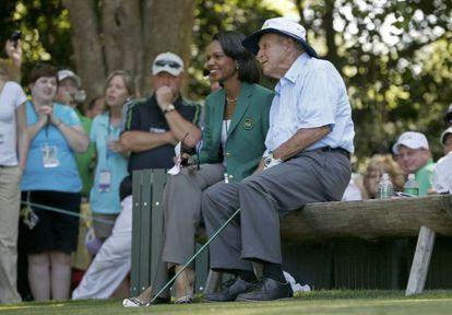Condoleezza Rice y Arnold Palmer, este miércoles.