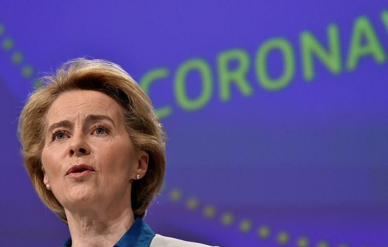 La presidenta de la Comisión Europea, Ursula von der Leyen, durante un acto en Bruselas, este mes.