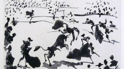 'La cogida', una de las 26 aguatintas de Picasso.
