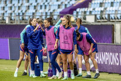 Las jugadoras del Barcelona durante un entrenamiento previo a la final en Gotemburgo.