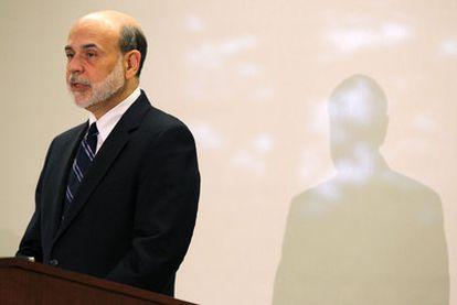 Bernanke, durante su intervención ayer ante la Reserva Federal de Boston (Massachusetts, EE UU).