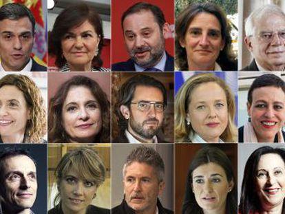 Carmen Calvo, José Luis Ábalos y Josep Borrell son algunos de los ministros que acompañarán a Sánchez en su Ejecutivo