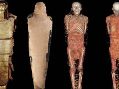 Composición de cuerpo entero de Nespamedu, con cartonaje, vendaje y reconstrucción.