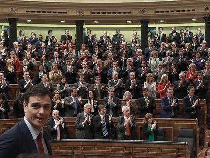 El presidente Pedro Sánchez en primer plano, en el vigésimo quinto debate del estado de la nación, el 24 de febrero de 2015.