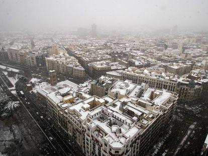 Nieve en el centro de Madrid por el temporal Filomena.