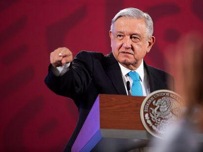 El presidente mexicano López Obrador, este miércoles en Palacio Nacional.