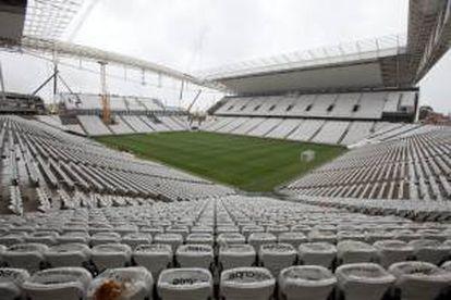 Vista general del estadio Arena Corinthians, también conocido como Itaquerão, en Sao Paulo. Este estadio, que será la sede inaugural del Mundial de Fútbol Brasil 2014, fue entregado hoy por la constructora Odebrecht.