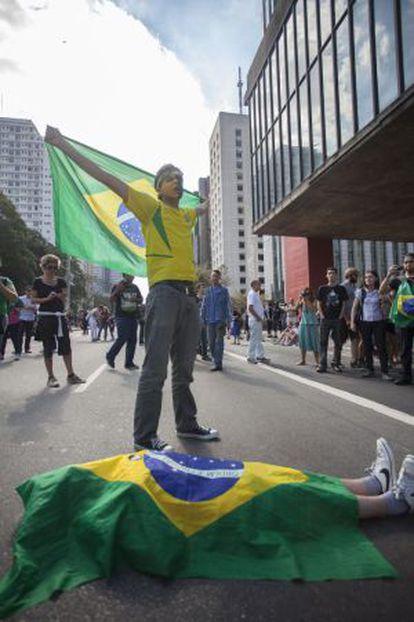 Manifestantes en una protesta en São Paulo en 2013.