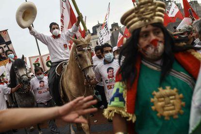 El candidato a la presidencia de Perú Pedro Castillo, primero según las encuestas.