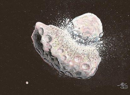 Representación artística de una colisión entre asteroides o planetesimales.