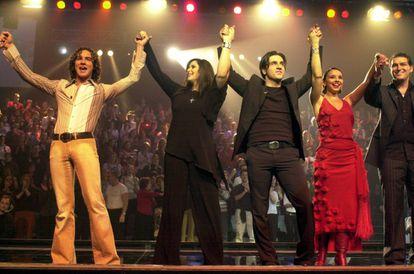 David Bisbal, Rosa, David Bustamante, Chenoa y Manu Tenorio en el escenario de 'OT', en 2001.