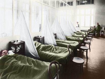 Imagen coloreada de soldados de EE UU en un hospital del norte de Francia en 1918.