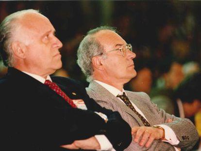 Xabier Arzalluz (izquierda) y José Antonio Ardanza, en el acto del Aberri Eguna de 1995.