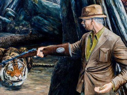 Jim Corbett se enfrenta a la tigresa devoradora de hombres de Champawat, en una pintura de David Southgate.