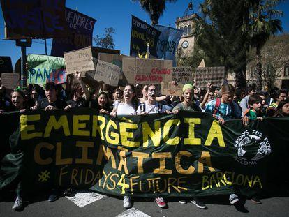Manifestación de estudiantes contra el cambio climático el 15 de marzo en Barcelona.