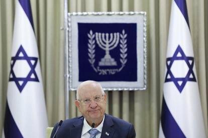 El presidente de Israel, Reuven Rivlin, el lunes en un acto en Jerusalén.