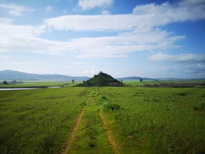 Cerro de Fuente Obejuna bajo el que se ubica la ciudad turdetana de Mellaria.