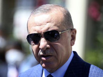 El presidente de Turquía, Recep Tayyip Erdogan, en una rueda de prensa en Estambul el viernes.