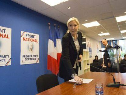 Le Pen, líder del Frente Nacional, este martes en Nanterre (Francia).