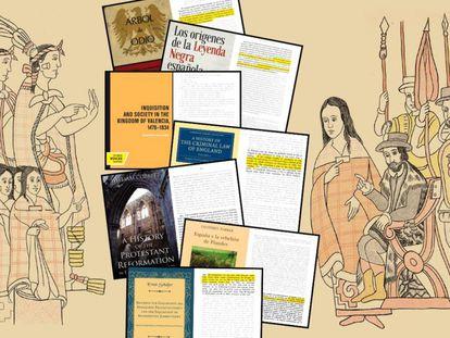 Libros citados en 'Imperiofobia' sobre el dibujo que ilustra la portada del ensayo de Roca Barea.