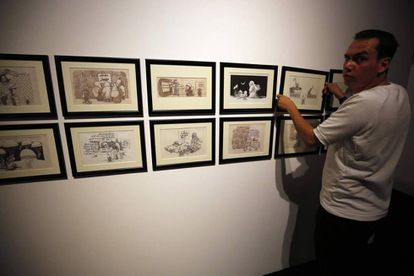 Exposición de caricaturas de Naji Al Ali en el Museo Palestino, inaugurada el pasado domingo.