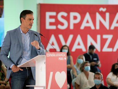 El presidente del Gobierno, Pedro Sánchez, durante el acto del PSOE celebrado en Jaén este sábado.