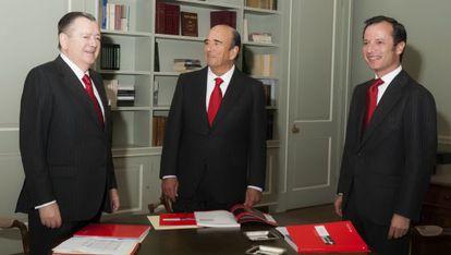 Sáenz, Botín y Marín, en una imagen facilitada por el Santander.