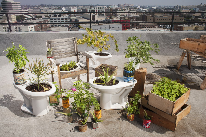 Jardín de azotea con materiales reciclados.